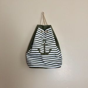 Street Level Green and White Anchor Backpack NWT